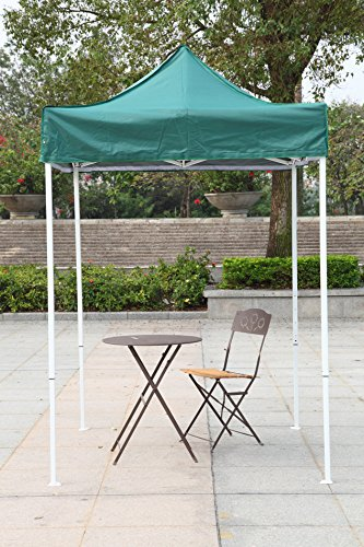 American Phoenix Canopy Tent 5x5 feet Party Tent [White Frame] Gazebo Canopy Commercial Fair Shelter Car Shelter Wedding Party Easy Pop Up (Green) - Frame Wedding Canopy