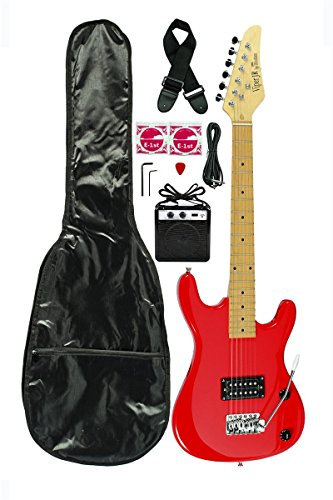 "Red Junior Kids Mini 3/4 Electric Guitar and Amp Starter Pack with ""Learn to Play Guitar DVD"", Guitar, DVD, Temolo, Amplifier, Gig Bag, Strap, Cable, DirectlyCheap(TM) Pick"
