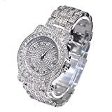 Men's Hip Hop White Gold Plated Iced Out Bling Lab Diamonds Rapper's Metal Band Wrist Watch