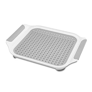 madesmart Soft Draining Sink Mat - White, Grey   SINKWARE COLLECTION   Dry Cups, Utensils, or use to Catch Food Prep   Soft-grip Handles for Portability   Non-slip Rubber Feet   BPA-Free