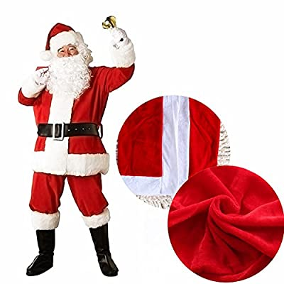 Mannice Christmas Santa Claus Costume with Beard, Santa Claus Christmas Suit Adult One Size,Red