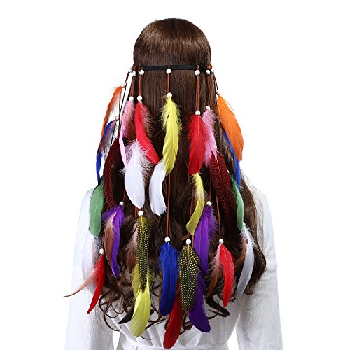 Hippie Feather Headband Indian headband - Handmade Feather Lightweight Indian Fashionable Style Headband 1970s -
