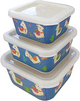 Various 3 Fiambrera Bambú Infantil,Ecológico sin BPA,Fiambrera Desayuno,Ideal para bebé y niño,Apto para lavavajillas-Llama Azul: Amazon.es: Hogar
