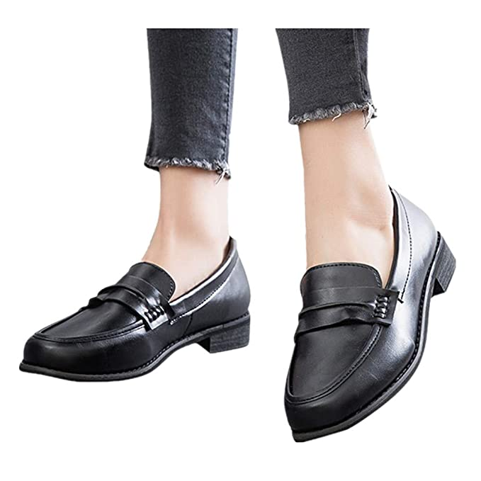 2cef08251cb Women s Leather Loafers Casual Round Toe Chunky Heel Summer Moccasins Flats  Pump Shoes (Black