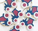 The Material Girls Red and Blue Tractor Shaped Bunting Garland or Decoration 1.5 metres long