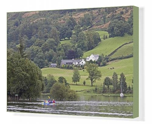 Canvas Print of Canoeists, Coniston Water, Lake District National Park, Cumbria, England