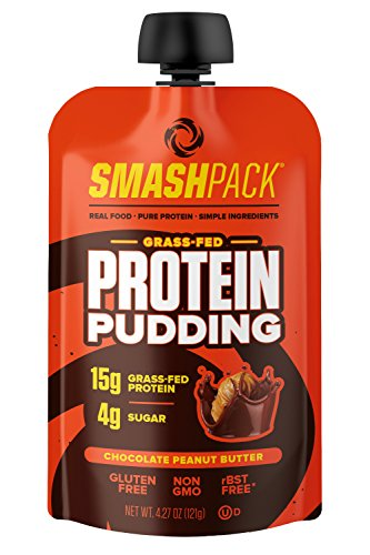SmashPack Protein Pudding Pouches (Chocolate Peanut Butter) - Grass-Fed Protein, Low Sugar, Low Carb Snack | 15g Protein, 4g Sugar, 130 Calories | Gluten Free, Non-GMO & Keto Friendly | 12-Pack
