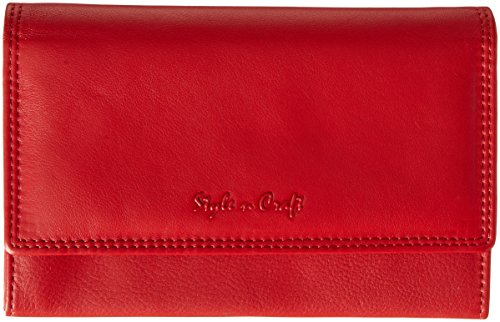 Style n Craft 300953-RD Bifold Wallet with Side Flap in High Grade Cow Leather - Front Gusseted Zippered Pocket