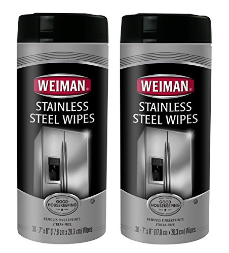 Weiman Stainless Steel Wipes, 30 Count (Pack of 2) (Stainless Steel Cleaning Wipes)