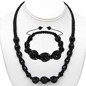 14mm Round Black Pave Disco Ball Dia-Cut Adjustable Bracelet and Necklace Set
