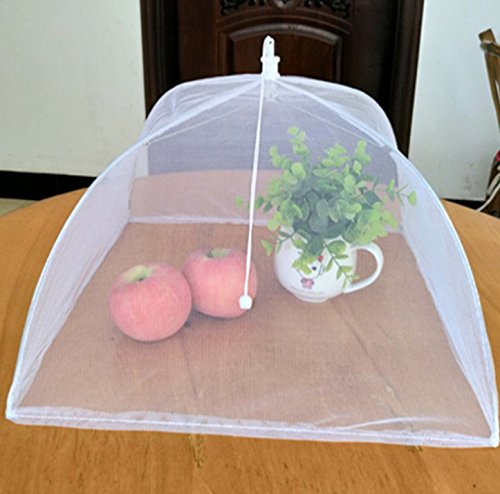 "HGmart Mesh Screen Food Covers(6 pack),Pop-Up Food Tent Umbrella Protectors For Food,Fruit,BBQs,Outdoor Picnic, Reusable and Collapsible 16""x16""x11"""