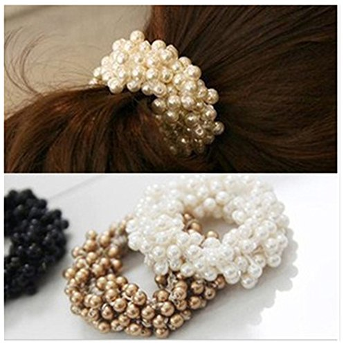Lovef 3 Pcs Fashion Women Pearls Beads Hair Band Rope Scrunchie Ponytail Holder
