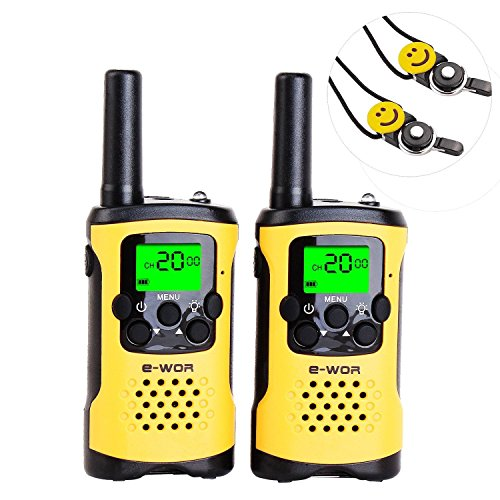 E-wor Walkie Talkies For Kids ,22 Channels FRS/GMRS UHF Kids Walkie Talkies, 2 Way Radios 4 Miles Walkie Talkies Kids Toys With Flashlight, 1 Pair,Yellow