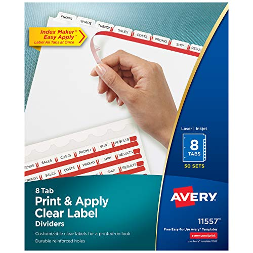 Avery Index Maker Clear Label Dividers, 8.5 x 11 Inch, 8 Tab, White Tab, 50 Sets  (11557) Avery Clear Label Dividers Template