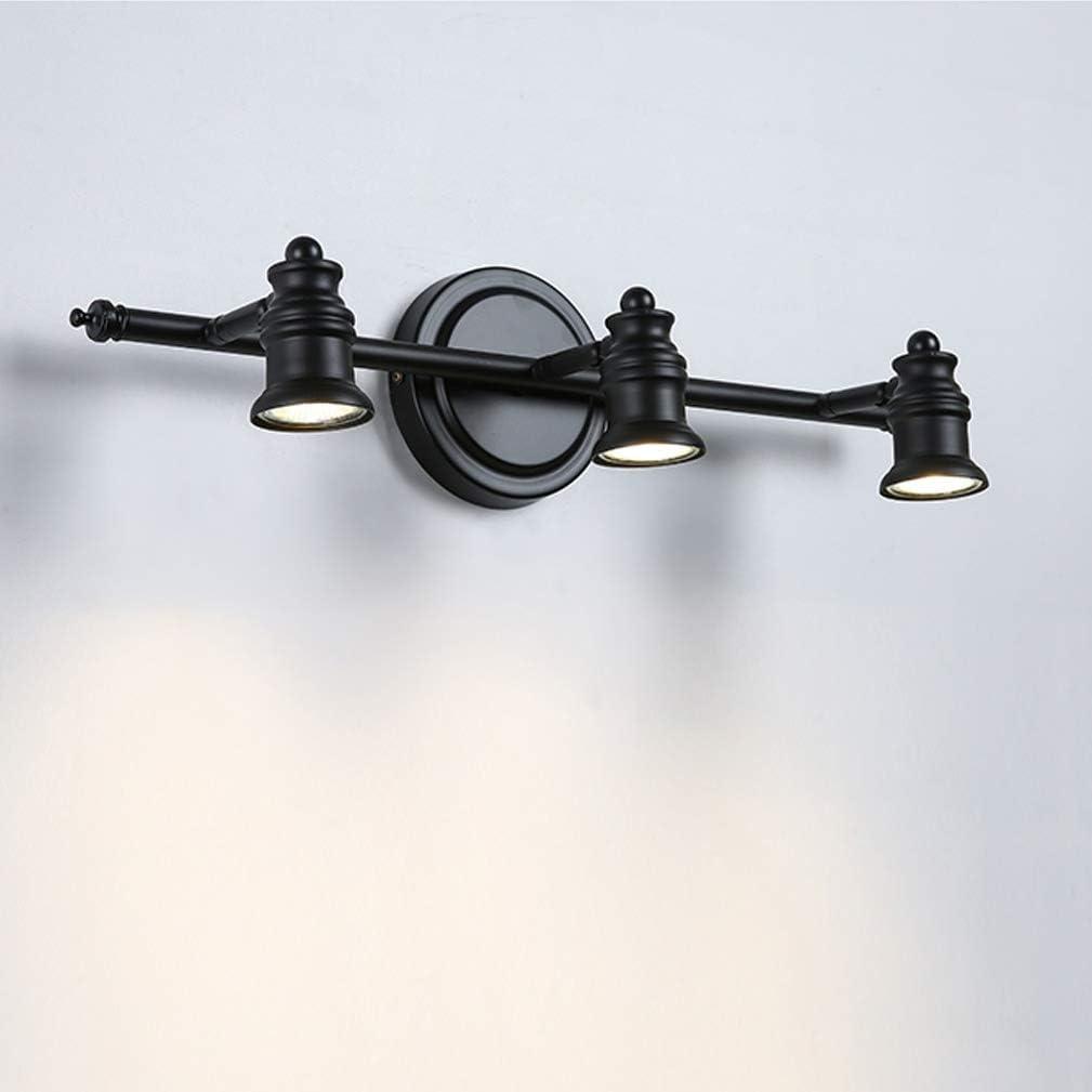 2 L/ámparas de espejo LED vintage Apliques giratorios creativos Luz cl/ásica de espejo de color negro L/ámpara de espejo n/órdico para ba/ño con focos LED IP 44 10cm de la pared cabeza