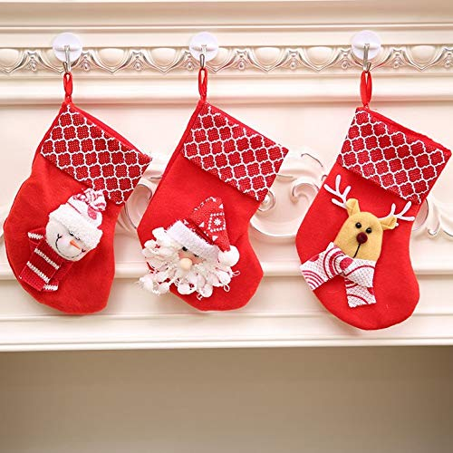 ASMGroup Christmas Stocking Kits 3PCS Cute Snowman/Santa Claus/Deer Christmas Stocking Gift Bags&Holders for Home Christmas Party Xmas Tree Kids Gifts Decoration CS1
