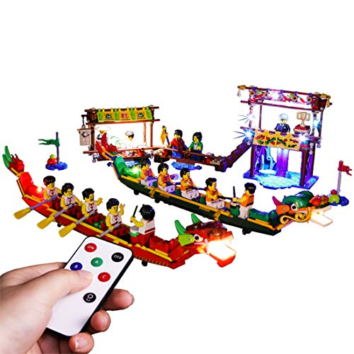 Dragon Boat Race - HMANE LED Light Set for Lego 80103 Dragon Boat Festival Dragon Boat Race, USB Powered, Remote Control Type, LED Light Only (Not Lego Manufacturing or Selling)