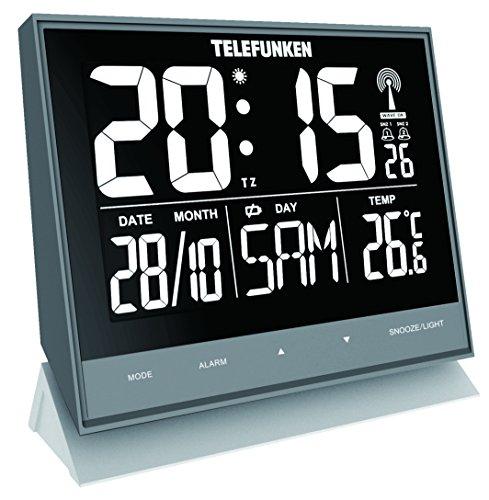 Despertador radiocontrolado, reloj de pared, silencioso, XL, grande, digital con pantalla negativa de alta resolución, puerto USB para alimentación externa, ...