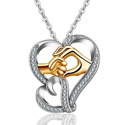 (INFUSEU Sterling Silver Mother and Child Hands Pendant Necklace Two Tone Double Love Hearts Cubic Zirconia Jewelry)