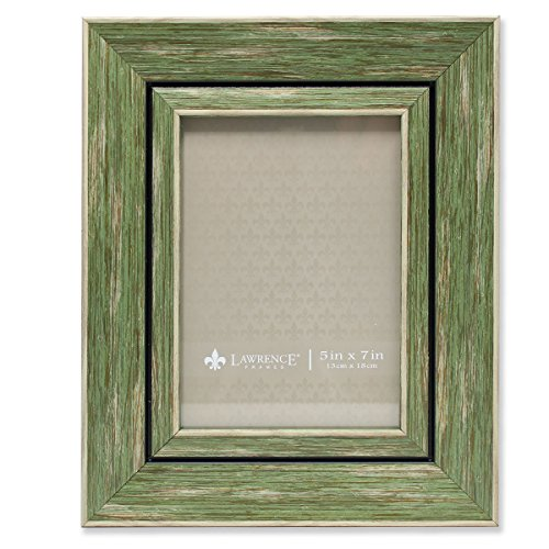 Lawrence Frames Weathered Decorative Picture Frame, 5 by 7-Inch, Green