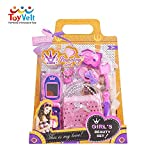 ToyVelt Handbag dress up Set For Kids – Fashionable Girls Purse, Mobile Phone, Lipstick,Car Keys, Hair pin And Watch – Adorable Pretend Play And Make Believe Toy Bundle With 6 Pink Accessories