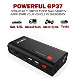 Car Jump Starter, GOOLOO 600A Peak Auto Battery Charger (Up to 6.5L Gas or 5.0L Diesel Engine) Portable Phone Power Pack Booster Built-in LED Flashlight with Smart Jumper Cables