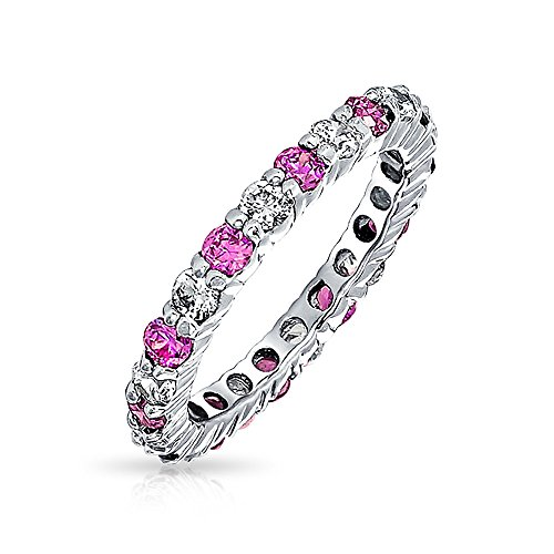 Sterling Silver Birthstone Heart Class Ring - Two Tone Eternity Band Ring Clear and Simulated Silver Pink Ruby Color CZ July Birthstone Ring Eternity Band