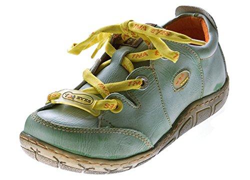 Damen Leder Halb Schuhe Comfort Sneakers Grün Used Look Turnschuhe TMA Eyes Gr. 36