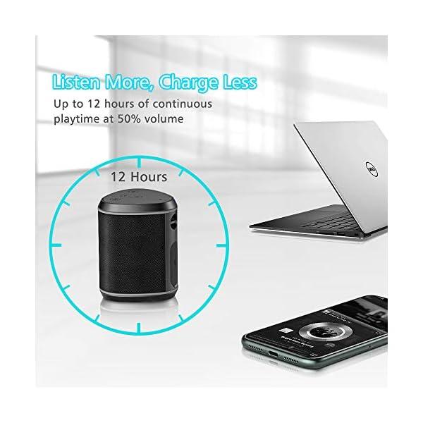 Cocoda Enceinte Bluetooth Portable, Mini Haut Parleur Sans Fil avec Sonore Stéréo, Basses Puissantes, Technologie TWS, Portée Bluetooth 18M, Support AUX/Carte TF, Étanche IPX6 Enceintes pour Extérieur 6