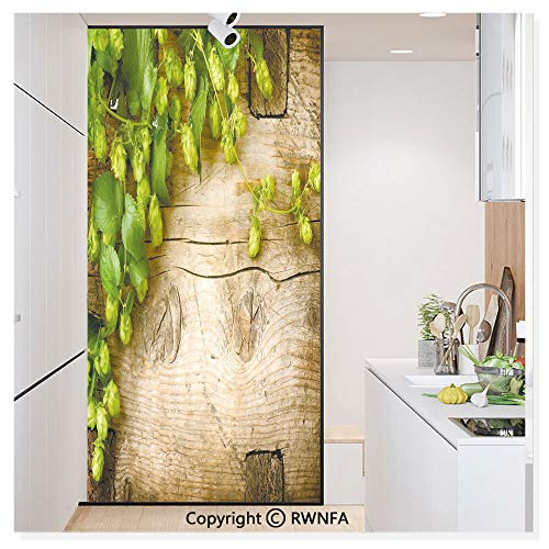 Decorative Privacy Window Film Hop Twigs on an Old and Cracked Wooden Board Fresh Picked Whole Hops Brewing No-Glue Self Static Cling for Home Bedroom Bathroom Kitchen Office,Avocado Green Brown