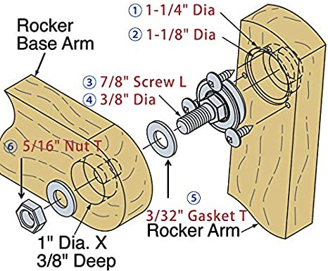 with Mounting Hardware Bearing Furniture and Miscellaneous XiKe 8 Pack Stem Rocker Assembly Bearing 1-1//8 OD Glider and Rocker Hardware Replace 124094.