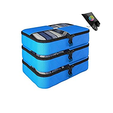 Packing Cubes - Mother's Day Gift-4 pc Value Set Luggage Organizer - 3 Medium + Bonus Shoe Bag Included - Lifetime Guarantee - By Bingonia Travel Accessories (Blue)