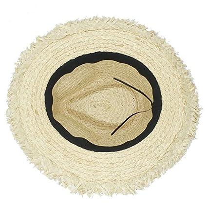 d203f80f1af Amazon.com  Douhuayu0 100% Raffia Straw Women Men Wide Brim Sun Hat Elegant  Lady Summer Panama Hat Queen Sunbonnet Beach Sunhat Fedora Cap (Color   1