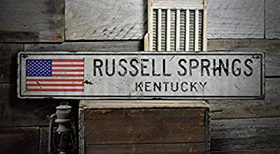 RUSSELL SPRINGS, KENTUCKY - Rustic Hand-Made Vintage Wooden Sign - US Flag