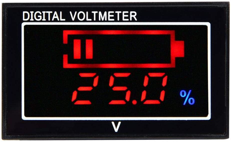 6-80V Waterproof Voltage Percentage Display Panel LED Mini Size Red Panel LCD Digital Battery Capacity Monitor