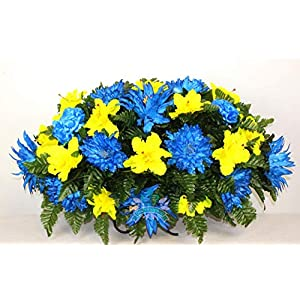 Beautiful XL Artificial Fall Mixture Cemetery Flower Headstone Saddle Grave Decoration 3