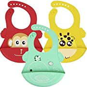 Silicone Baby Bibs, 3 Pack bibs with Wide Food Crumb Catcher Pocket. Easy Wipe Clean, Dishwasher Safe Stain Resistant. Happy Colorful Animal Printing For Babies And Toddlers, Unisex. By WONDRUX