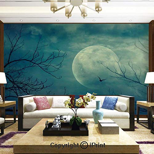 (Lionpapa_mural Nature Wall Photo Decoration Removable & Reusable Wallpaper,Halloween with Full Moon in Sky and Dead Tree Branches Evil Haunted Forest,Home Decor - 100x144)