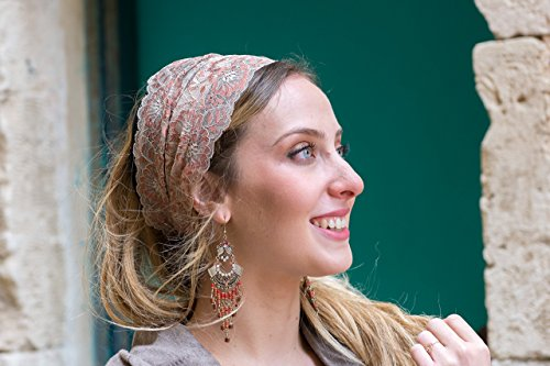 Stunning Cream & Umber Embellished Lace Headband Bandana, Tichel, Head Covering,scarf, Half Coveing, Pre-tied,loss (Stunning Cream)