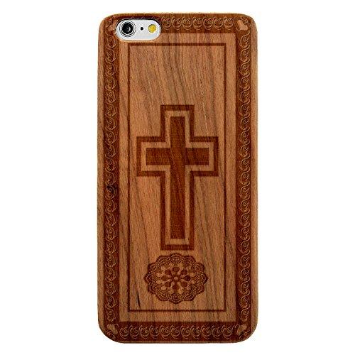 Laser Engraved Wood Case iPhone 7 Plus or iPhone 7s Plus - Spiritual Christian Cross Border Mandala (Cherry Case)