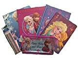 Back To School Licensed Character Set of Pocket Folders, Spiral Notebooks, Pencil Case, and Pencils (Disney Frozen)