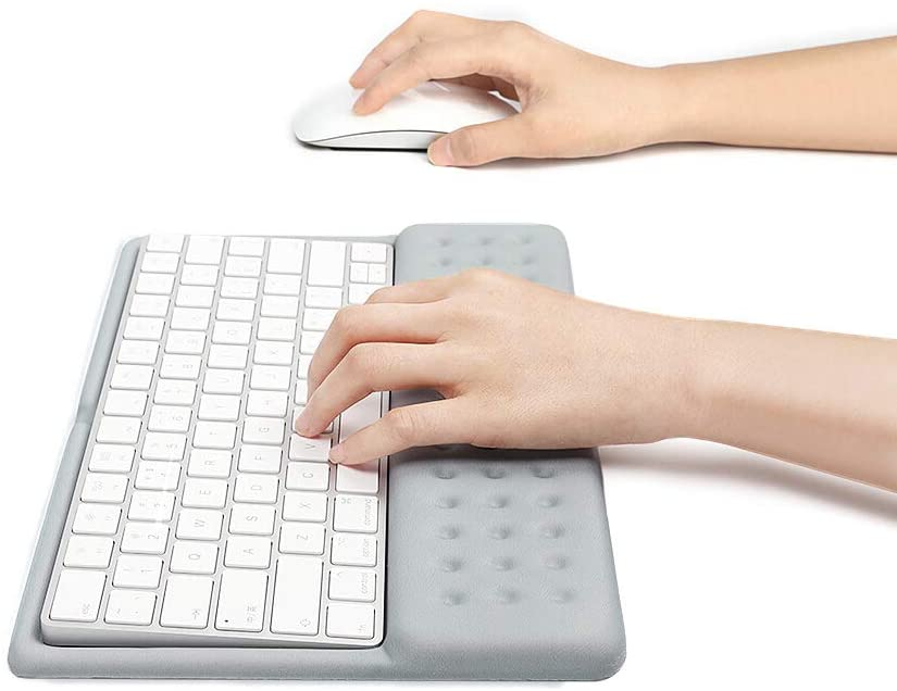 BUBM 2 in 1 Wrist Rest Support Keyboard Pad Keyboard Mat Wrist Rest Mouse Pad for Apple Magic Keyboard 2 (Gray)