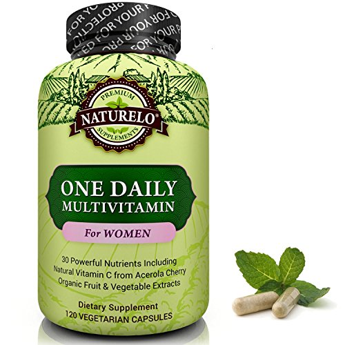 NATURELO One Daily Multivitamin for Women - Best for Hair, Skin & Nails - Natural Energy Support - Whole Food Supplement - Non-GMO - No Soy - Gluten Free - 120 Capsules | 4 Month Supply