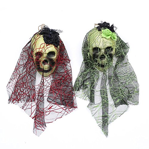 GALGANO Halloween Decorations - Scary Hanging Skull Ghost Skeleton with Black Lace and Flowers - Halloween Ornaments for Haunted House Home Party Garden and Bars – Pack of 2 (Red, Purple)