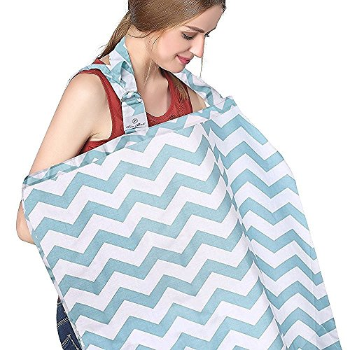 FicBox Breast Feeding Nursing Cover Made By Cotton (Blue Wavy)