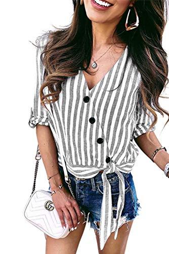 Roll Sleeve Striped Shirt - 3