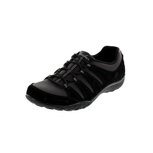 Skechers - Zapatillas de Piel para Mujer Negro Negro, Color Negro, Talla 36.5: Amazon.es: Zapatos y complementos