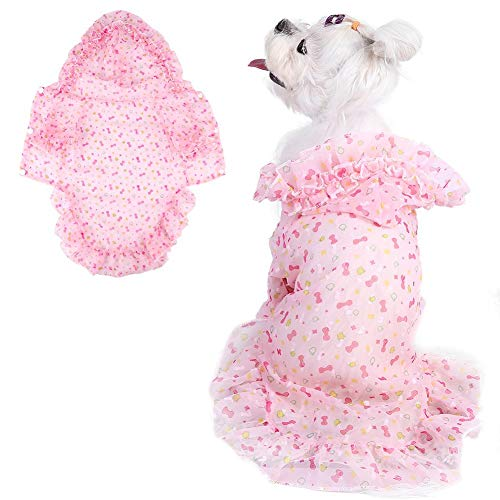 Qiterr Pet Dress, Summer Sun Protection Clothes Chiffon Breathable Dress Dogs Skirts(S- Pink) -