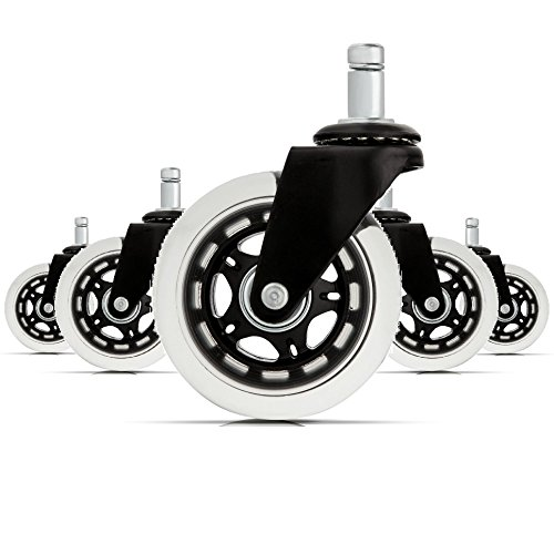 Office Chair Caster Wheels (Set of 5) - Heavy Duty & Safe for All Floors Including Hardwood - Perfect Replacement for Desk Floor Mat - Rollerblade Style w/ Universal Fit