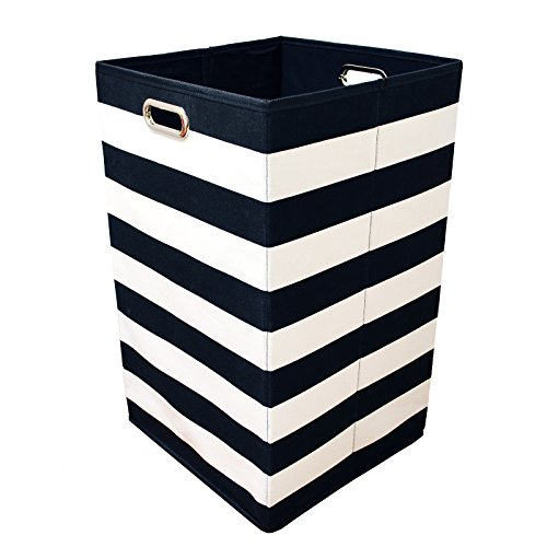 Foldable Collapsible Laundry Hamper - Best Fabric Canvas Collapsible Laundry Basket Bin (23 x 14 x 14, Black Stripe)